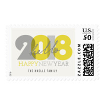 Bold Hello 2018 Holiday Happy New Year Stamps