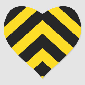 Bold Highway Traffic Bumble Bee Chevrons Heart Sticker