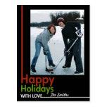 Bold Holiday Photo Card Postcard