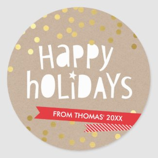 BOLD HOLIDAY TYPOGRAPHY trendy gold confetti kraft