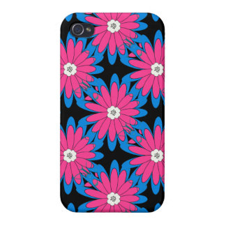 Bold Hot Pink and Blue Daisy Flower Pattern Case For iPhone 4