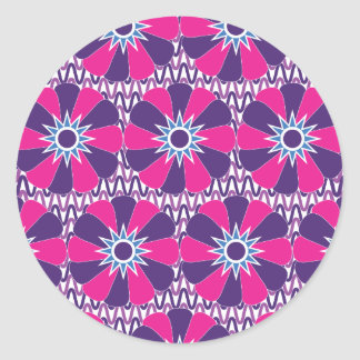 Bold Hot Pink and Purple Floral Pattern Classic Round Sticker