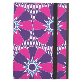 Bold Hot Pink and Purple Floral Pattern iPad Folio Cases