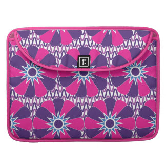 Bold Hot Pink and Purple Floral Pattern MacBook Pro Sleeve