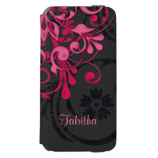 Bold Hot Pink Black Elegant Floral iPhone 6/6s Wallet Case