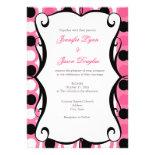 Bold Hot Pink Black Polka Dot Wedding Invitations