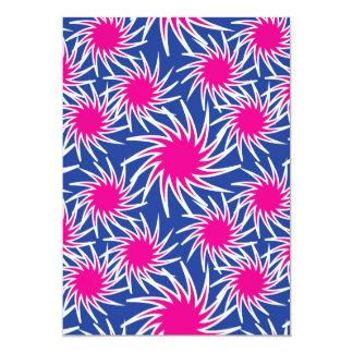Bold Hot Pink Blue Spiraling Wheels Funky Pattern Card
