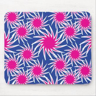Bold Hot Pink Blue Spiraling Wheels Funky Pattern Mousepads