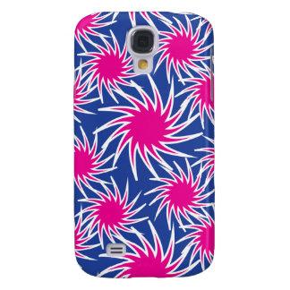 Bold Hot Pink Blue Spiraling Wheels Funky Pattern Samsung S4 Case