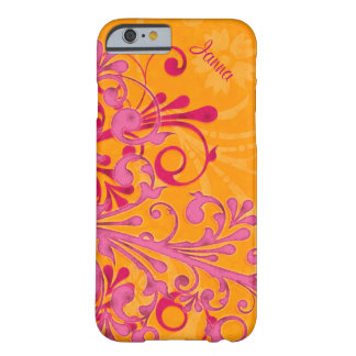 Bold Hot Pink Orange Elegant Floral iPhone 6 case