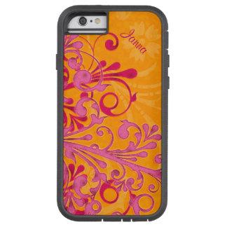 Bold Hot Pink Orange Elegant Floral iPhone 6 case