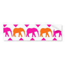 Bold Hot Pink Orange Elephants Chevron Stripes Bumper Sticker