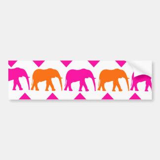 Bold Hot Pink Orange Elephants Chevron Stripes Bumper Sticker
