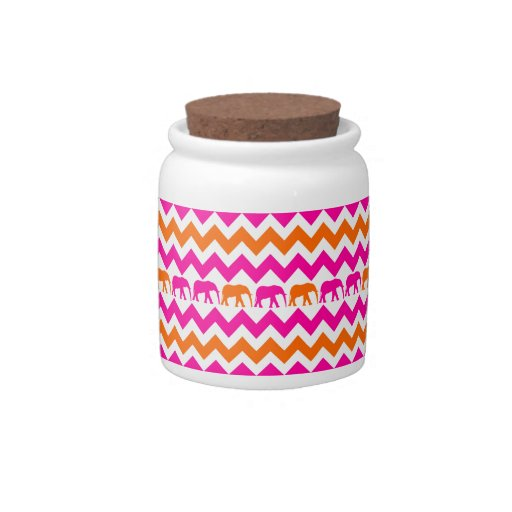 Bold Hot Pink Orange Elephants Chevron Stripes Candy Jars