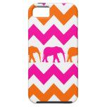 Bold Hot Pink Orange Elephants Chevron Stripes iPhone 5 Cases