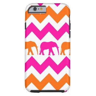 Bold Hot Pink Orange Elephants Chevron Stripes iPhone 6 Case