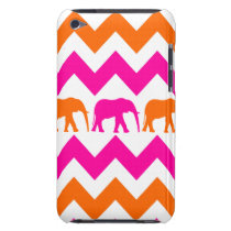 Bold Hot Pink Orange Elephants Chevron Stripes iPod Touch Case-Mate Case
