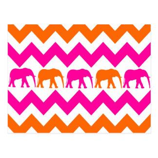 Bold Hot Pink Orange Elephants Chevron Stripes Postcard