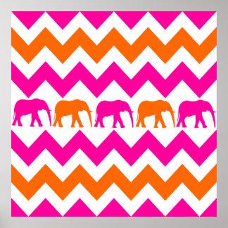Bold Hot Pink Orange Elephants Chevron Stripes Poster