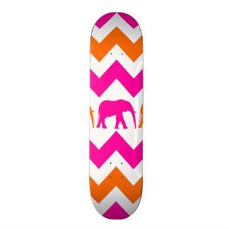 Bold Hot Pink Orange Elephants Chevron Stripes Skateboard Deck