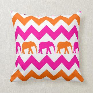 Bold Hot Pink Orange Elephants Chevron Stripes Throw Pillow