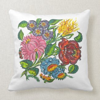bold hungarian flowers throwpillow