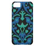 Bold ikat pattern in blue green and black cover for iPhone 5C
