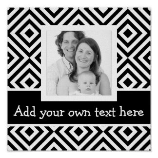 Bold Instagram Photo with Custom Text Chevron BW Poster