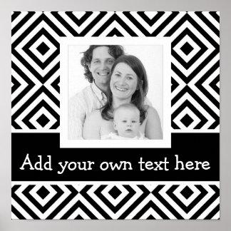 Bold Instagram Photo with Custom Text Chevron BW Poster