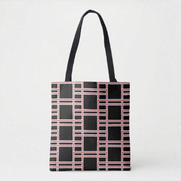 Beach Themed Bold Interlocking Red and White Rectangle Pattern Tote Bag
