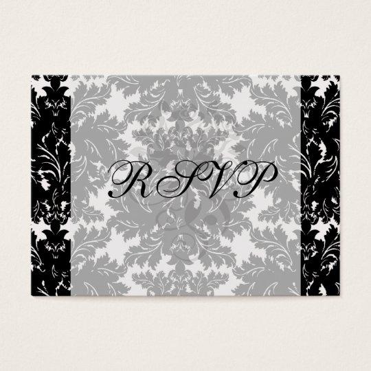 bold intricate black damask on white business card