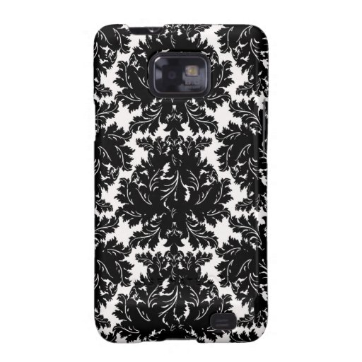 bold intricate black damask on white samsung galaxy SII cases