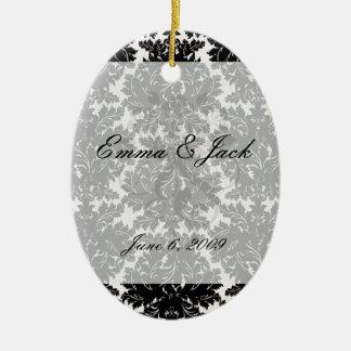 bold intricate black damask on white ceramic ornament