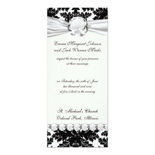 bold intricate black damask on white 4x9.25 paper invitation card