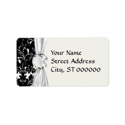 bold intricate black damask on white custom address labels