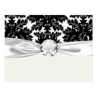 bold intricate black damask on white postcard