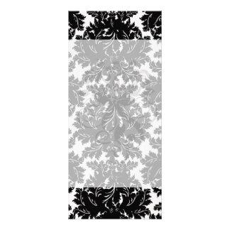 bold intricate black damask on white rack card