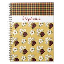 Bold Ladybug/Plaid Pattern Notebook