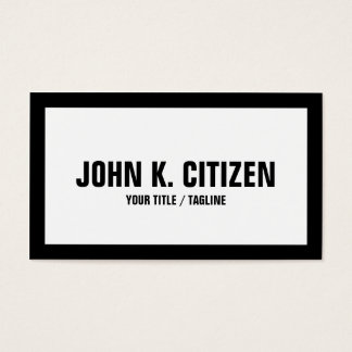 Bold large text white / black border business card