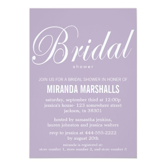 Bold Lavender Bridal Shower Invitations