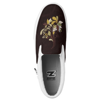 Bold Leafy Autumn Contemporary Print in Brown Printed Shoes