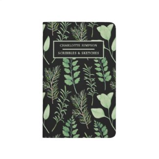 Bold Leaves Black Personalized Pocket Journal
