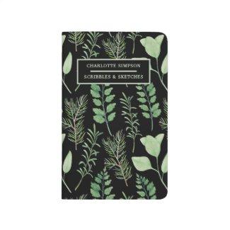 Bold Leaves Black Personalized Pocket Journal