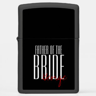bold letters father of the bride personalized zippo lighter