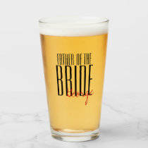 """Bold Letters """"Father of the Bride"""" Wedding Party Glass"""