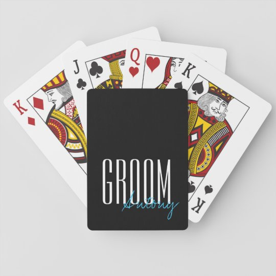 bold letters groom personalized wedding party playing cards