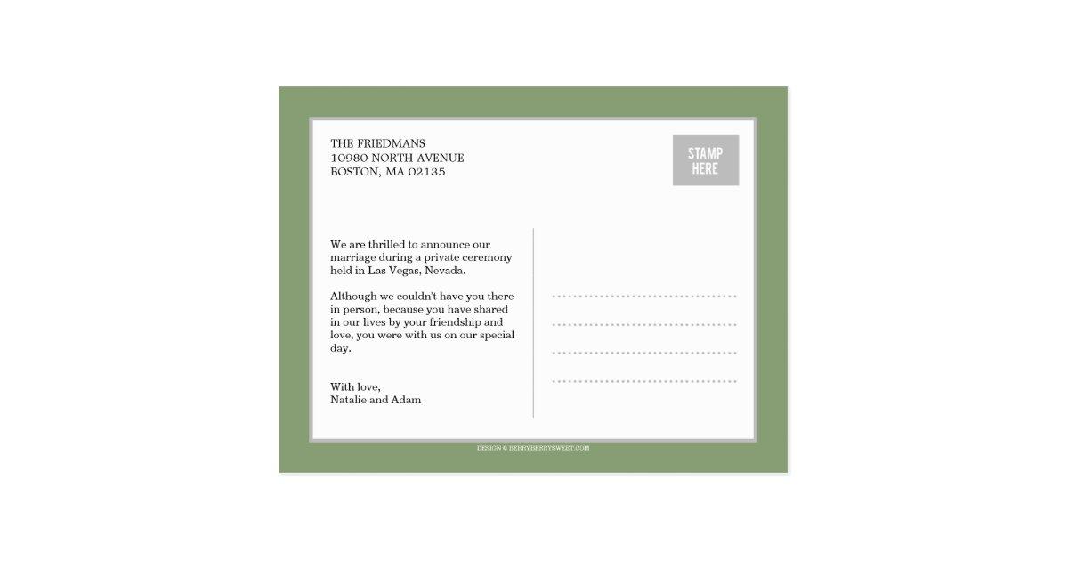 Bold Letters Wedding Announcement Postcard