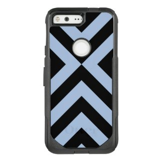 Bold Light Blue and Black Chevrons OtterBox Commuter Google Pixel Case