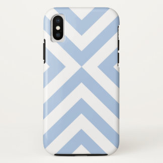 Bold Light Blue and White Chevrons iPhone X Case