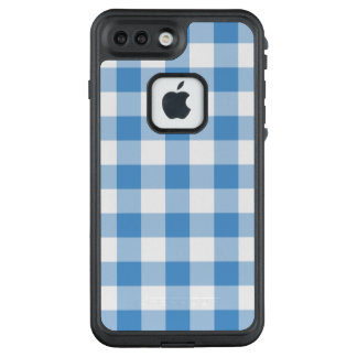 Bold Light Blue and White Gingham Plaid LifeProof FRĒ iPhone 7 Plus Case